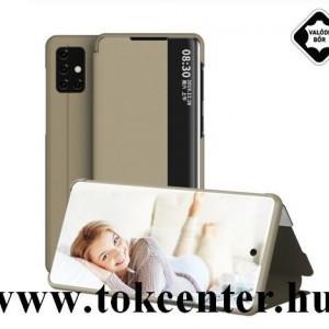 Samsung Galaxy A51 (SM-A515F) Tok álló, valódi bőr (aktív flip, oldalra nyíló, Smart View Cover) ARANY