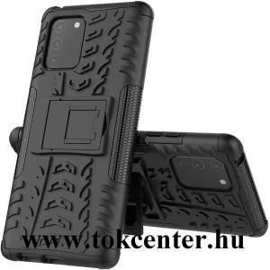 Samsung Galaxy S10 Lite (SM-G770F) Defender műanyag telefonvédő (közepesen ütésálló, szilikon belső, kitámasztó, autógumi minta) FEKETE
