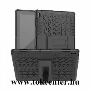 Lenovo Tab E10 (TB-X104F) Defender műanyag telefonvédő (közepesen ütésálló, szilikon belső, kitámasztó, autógumi minta) FEKETE