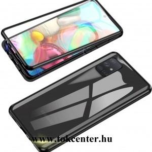 Samsung Galaxy A51 (SM-A515F) Alumínium keret (360°-os védelem, mágneses, közepesen ütésálló, edzett üveg előlap, hátlap, 9H) FEKETE