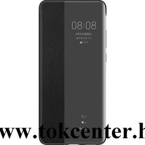 Huawei P40 Gyári Tok álló, bőr hatású (aktív flip, oldalra nyíló, Smart View Cover) FEKETE (51993703)