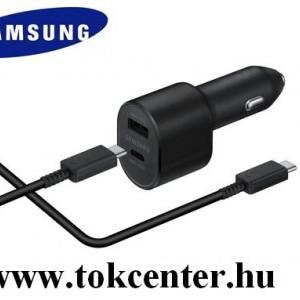 Autós töltő 2 x USB aljzat (5V / 2000mA, 15W, gyorstöltés támogatás, LED + Type-C / USB kábel) FEKETE (EP-L5300XBE)
