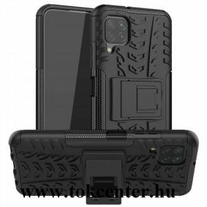 Huawei P40 Lite Defender műanyag telefonvédő (közepesen ütésálló, szilikon belső, kitámasztó, autógumi minta) FEKETE