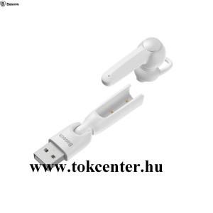 BASEUS ENCOK BLUETOOTH fülhallgató MONO (mikrofon, multipoint + USB töltőállomás) FEHÉR