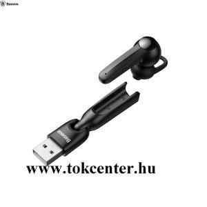 BASEUS ENCOK BLUETOOTH fülhallgató MONO (mikrofon, multipoint + USB töltőállomás) FEKETE