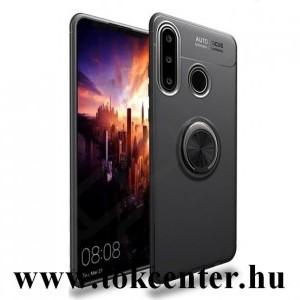 Huawei P40 Lite E Szilikon telefonvédő (asztali tartó funkció, telefontartó gyűrű, 360°-ban forgatható, beépített fémlemez) FEKETE
