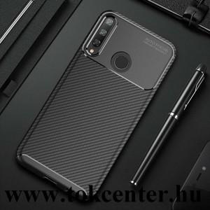 Huawei P40 Lite E Szilikon telefonvédő (közepesen ütésálló, légpárnás sarok, karbon minta) FEKETE
