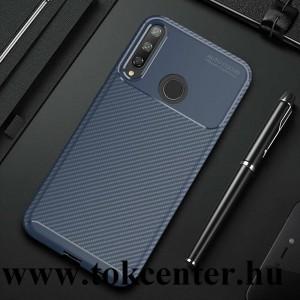 Huawei P40 Lite E Szilikon telefonvédő (közepesen ütésálló, légpárnás sarok, karbon minta) KÉK