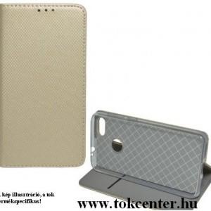 Huawei P40 Lite Tok álló, bőr hatású (FLIP, oldalra nyíló, asztali tartó funkció, rombusz minta) ARANY