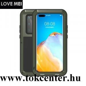 Huawei P40 Pro 5G LOVE MEI Powerful defender telefonvédő gumi (ütésálló, fém keret + Gorilla Glass üveg) SÖTÉTZÖLD