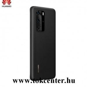 Huawei P40 Pro 5G Műanyag telefonvédő (bőr hatású hátlap) FEKETE (51993787)