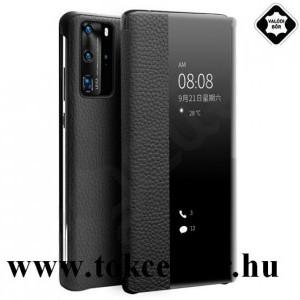 Huawei P40 Pro 5G QIALINO tok álló, valódi bőr (aktív flip, oldalra nyíló, View Window, érdes felületű) FEKETE