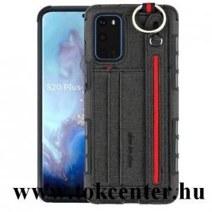Samsung Galaxy S20 (SM-G980F) Szilikon telefonvédő (közepesen ütésálló, asztali tartó funkció, bankkártya tartó, textil hátlap + kézpánt) FEKETE