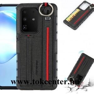 Samsung Galaxy S20 Ultra (SM-G988F) Szilikon telefonvédő (közepesen ütésálló, asztali tartó funkció, bankkártya tartó, textil hátlap + kézpánt) FEKETE