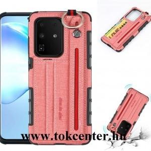 Samsung Galaxy S20 Plus (SM-G985F) Szilikon telefonvédő (közepesen ütésálló, asztali tartó funkció, bankkártya tartó, textil hátlap + kézpánt) RÓZSASZÍN