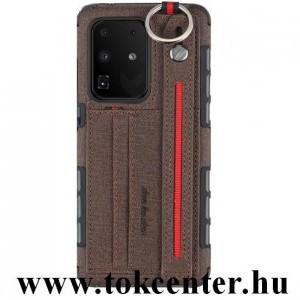 Samsung Galaxy S20 Ultra (SM-G988F) Szilikon telefonvédő (közepesen ütésálló, asztali tartó funkció, bankkártya tartó, textil hátlap + kézpánt) SÖTÉTBARNA