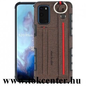 Samsung Galaxy S20 (SM-G980F) Szilikon telefonvédő (közepesen ütésálló, asztali tartó funkció, bankkártya tartó, textil hátlap + kézpánt) SÖTÉTBARNA