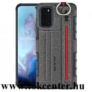 Samsung Galaxy S20 (SM-G980F) Szilikon telefonvédő (közepesen ütésálló, asztali tartó funkció, bankkártya tartó, textil hátlap + kézpánt) SZÜRKE