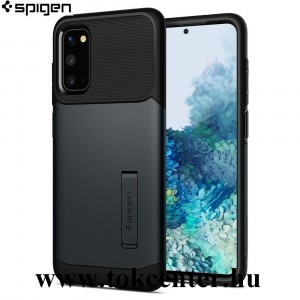Samsung Galaxy S20 (SM-G980F) / S20 5G (SM-G981U) SPIGEN SLIM ARMOR szilikon telefonvédő (közepesen ütésálló, műanyag hátlap, légpárnás sarok, kitámasztó) METÁLFEKETE (ACS00659)