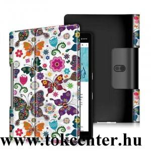 Lenovo Yoga Smart 10.1 (YT-X705F) WIFI / Lenovo Yoga Smart 10.1 (YT-X705L) LTE Tok álló, bőr hatású (aktív flip, oldalra nyíló, asztali tartó funkció, pillangó, virág minta) FEHÉR