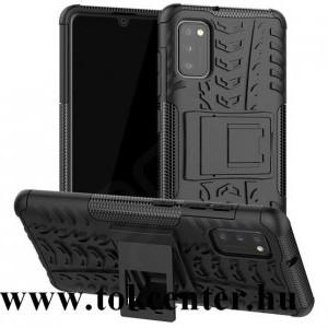 Samsung Galaxy A41 (SM-A415F) Defender műanyag telefonvédő (közepesen ütésálló, szilikon belső, kitámasztó, autógumi minta) FEKETE