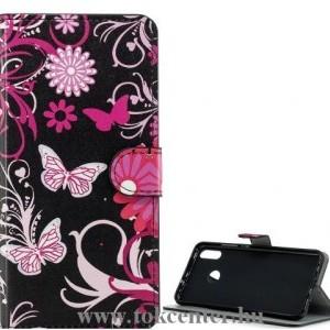 Samsung Galaxy A51 (SM-A515F) Tok álló, bőr hatású (FLIP, oldalra nyíló, asztali tartó funkció, pillangó, virág minta) FEKETE