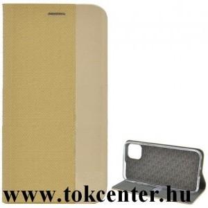 Samsung Galaxy A51 (SM-A515F) Tok álló, bőr hatású (FLIP, oldalra nyíló, asztali tartó funkció, textil hatás) ARANY