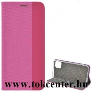 Apple iPhone 7 4.7 / Apple iPhone 8 4.7 / Apple iPhone SE (2020) Tok álló, bőr hatású (FLIP, oldalra nyíló, asztali tartó funkció, textil hatás) RÓZSASZÍN