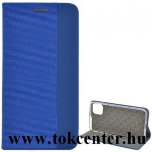 Samsung Galaxy A51 (SM-A515F) Tok álló, bőr hatású (FLIP, oldalra nyíló, asztali tartó funkció, textil hatás) VILÁGOSKÉK