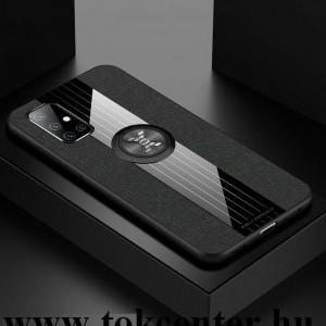 Samsung Galaxy A51 (SM-A515F) Szilikon telefonvédő (közepesen ütésálló, telefontartó gyűrű, beépített fémlemez, textil minta) FEKETE
