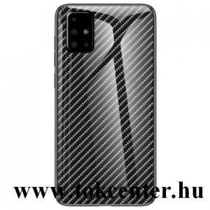 Samsung Galaxy A51 (SM-A515F) Telefonvédő szilikon keret (BUMPER, edzett üveg hátlap, karbon minta) FEKETE