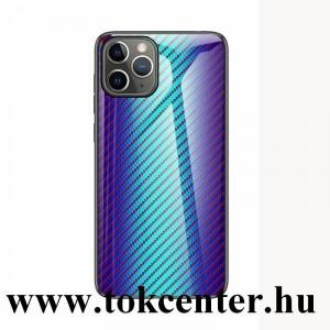Samsung Galaxy A51 (SM-A515F) Telefonvédő szilikon keret (BUMPER, edzett üveg hátlap, karbon minta) KÉK