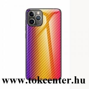 Samsung Galaxy A51 (SM-A515F) Telefonvédő szilikon keret (BUMPER, edzett üveg hátlap, karbon minta) ARANY