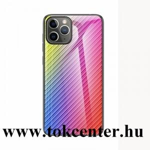 Samsung Galaxy A51 (SM-A515F) Telefonvédő szilikon keret (BUMPER, edzett üveg hátlap, karbon minta) SZÍNES