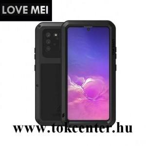 Samsung Galaxy S10 Lite (SM-G770F) LOVE MEI Powerful defender telefonvédő gumi (ütésálló, fém keret + Gorilla Glass üveg) FEKETE