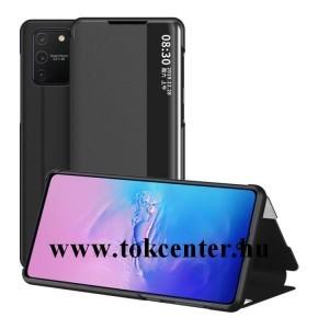 Samsung Galaxy S10 Lite (SM-G770F) Tok álló, bőr hatású (FLIP, oldalra nyíló, asztali tartó funkció, hívószámkijelzés, View Window) FEKETE