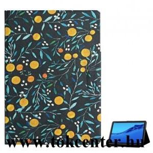 Samsung Galaxy Tab A 10.1 WIFI (2019) SM-T510 Tok álló, bőr hatású (FLIP, oldalra nyíló, asztali tartó funkció, narancs minta) FEKETE