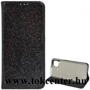 Huawei P40 Lite 4G / Nova 6 SE Tok álló, bőr hatású (FLIP, szilikon belső, oldalra nyíló, asztali tartó funkció, bankártya tartó, csillogó) FEKETE