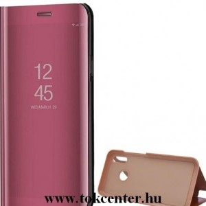 Huawei P40 Lite 4G / Nova 6 SE Tok álló (aktív flip, oldalra nyíló, asztali tartó funkció, tükrös felület, Mirror View Case) RÓZSASZÍN
