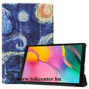 Samsung Galaxy Tab A 10.1 LTE (2019) SM-T515 / Samsung Galaxy Tab A 10.1 WIFI (2019) SM-T510 Tok álló, bőr hatású (aktív flip, oldalra nyíló, TRIFOLD asztali tartó funkció, festmény minta) KÉK