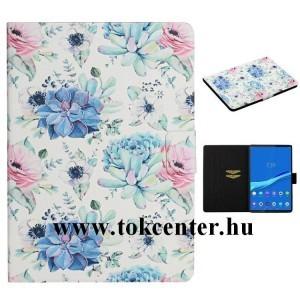 Samsung Galaxy Tab A 10.1 WIFI (2019) SM-T510 Tok álló, bőr hatású (FLIP, oldalra nyíló, asztali tartó funkció, színes virág minta) BÉZS