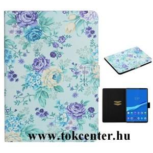 Samsung Galaxy Tab S6 Lite 10.4 LTE (SM-P615) / Tab S6 Lite 10.4 WIFI (SM-P610) Tok álló, bőr hatású (FLIP, oldalra nyíló, asztali tartó funkció, színes virág minta) VILÁGOSKÉK
