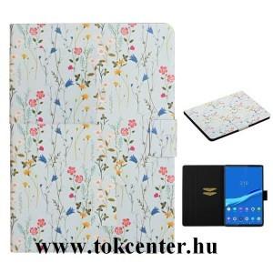 Samsung Galaxy Tab A 10.1 WIFI (2019) SM-T510 Tok álló, bőr hatású (FLIP, oldalra nyíló, asztali tartó funkció, virág minta) VILÁGOSKÉK