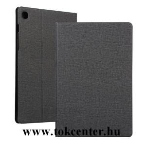 Samsung Galaxy Tab S6 Lite 10.4 LTE (SM-P615) / Tab S6 Lite 10.4 WIFI (SM-P610) Tok álló, bőr hatású (FLIP, oldalra nyíló, asztali tartó funkció, textil hatás) FEKETE