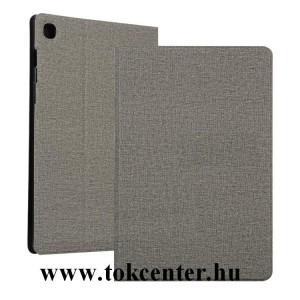 Samsung Galaxy Tab S6 Lite 10.4 LTE (SM-P615) / Tab S6 Lite 10.4 WIFI (SM-P610) Tok álló, bőr hatású (FLIP, oldalra nyíló, asztali tartó funkció, textil hatás) SZÜRKE