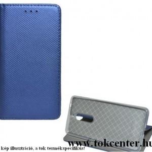 Huawei Y6p Tok álló, bőr hatású (FLIP, oldalra nyíló, asztali tartó funkció, rombusz minta) SÖTÉTKÉK