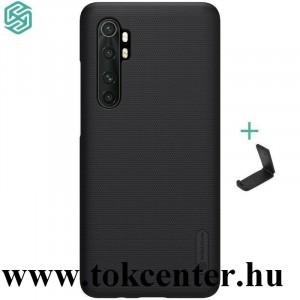 Xiaomi Mi Note 10 Lite NILLKIN SUPER FROSTED műanyag telefonvédő (gumírozott, érdes felület + asztali tartó) FEKETE