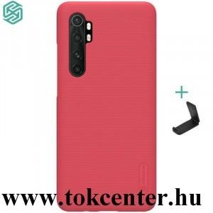 Xiaomi Mi Note 10 Lite NILLKIN SUPER FROSTED műanyag telefonvédő (gumírozott, érdes felület + asztali tartó) PIROS