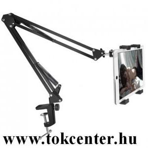 Asztali tartó (asztallapra rögzíthető, állvány, állítható, dönthető, 360°-ban forgatható, alumínium, 4.4-7.7'') FEKETE