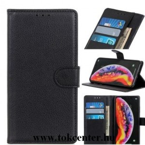 Honor X10 5G Tok álló, bőr hatású (FLIP, oldalra nyíló, asztali tartó funkció, prémium) FEKETE